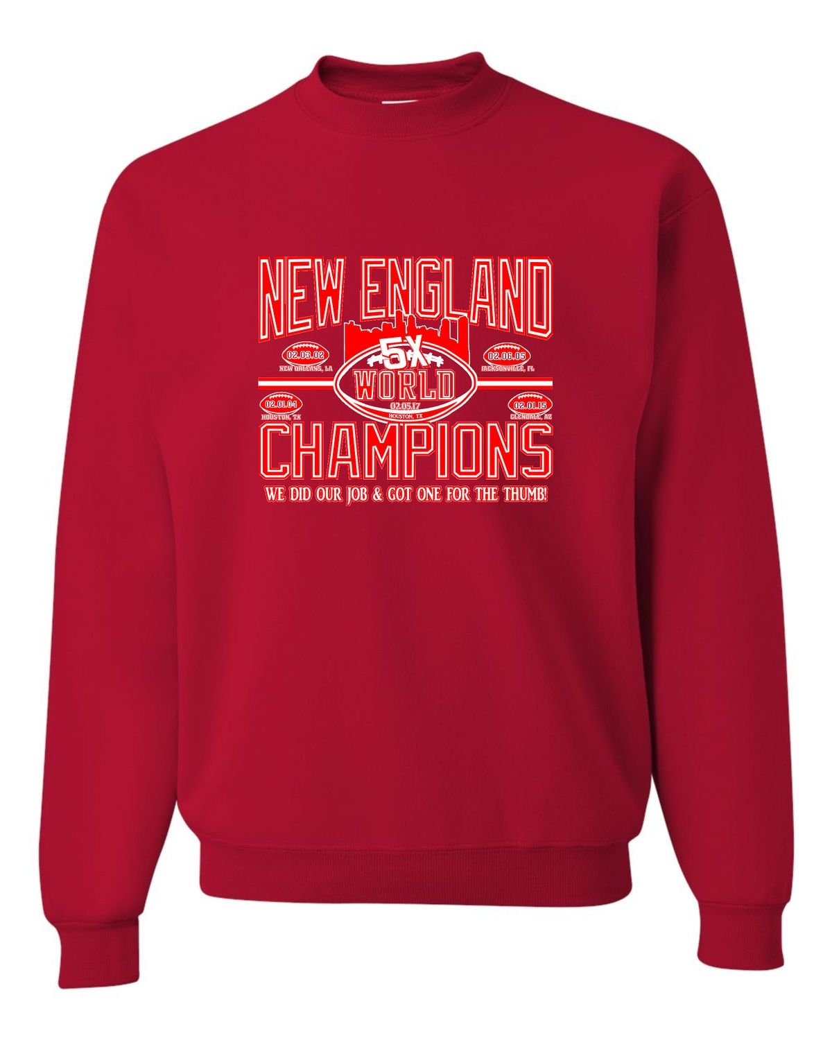 Go All Out Adult New England World Champions Football Sweatshirt Crewneck