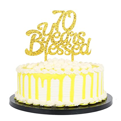 PALASASA Gold Glitter Acrylic 70 Years Blessed Cake Topper