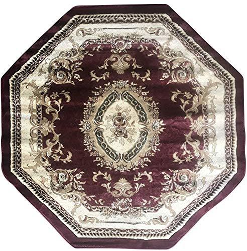 (Deir Debwan Traditional Octagon Burgundy Green Beige Ivory Aubusson Floral Persian 330,000 Point Area Rug Design 602 (4 Feet X 4 Feet))