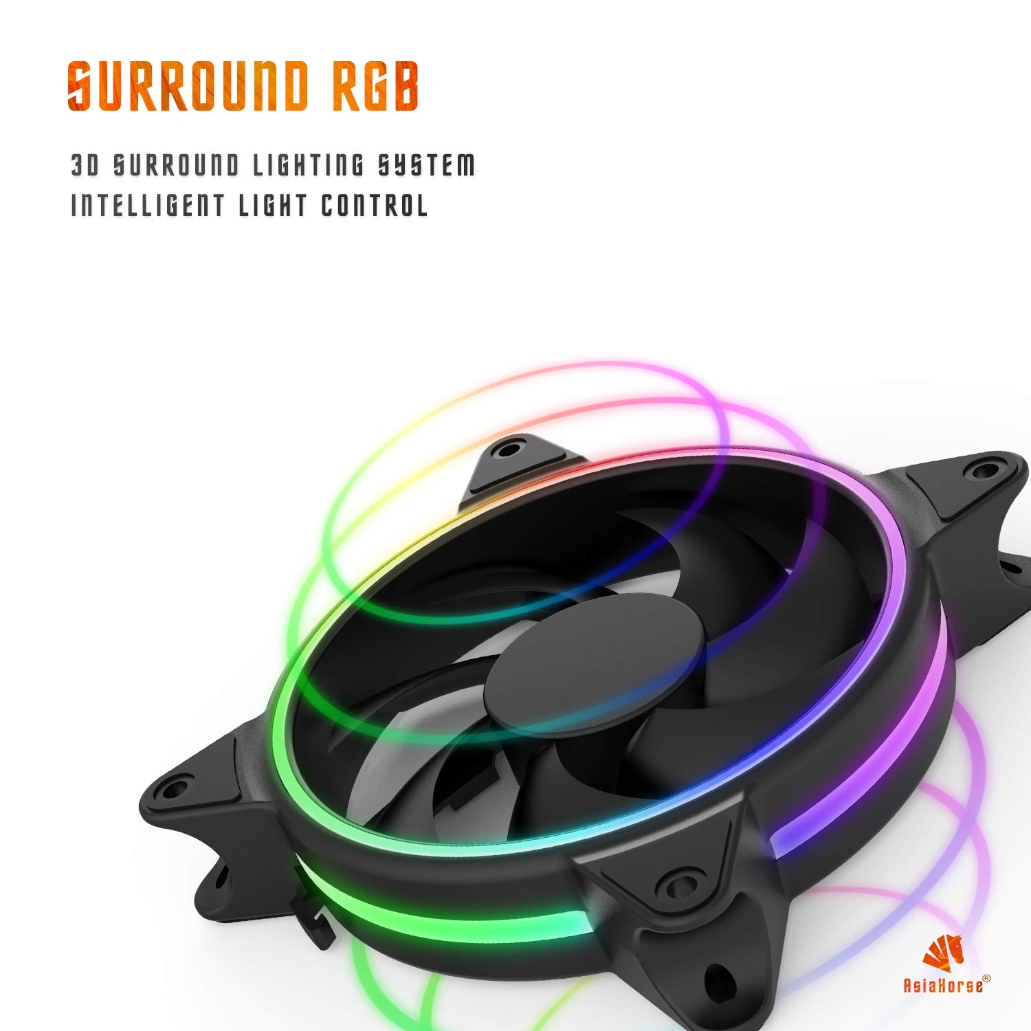 Asiahorse Solar ECLIPSEIII-120mm Three Light Loop RGB Interactive Music Cooling Fan with 3nd gen RF Remote Controller for PC Case,Water Cooling Radiators System(6 Pack) by ASIAHORSE (Image #9)