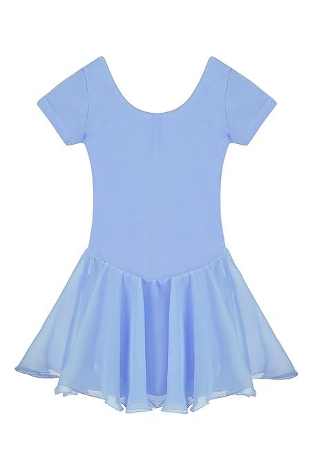 Untlet Ballettkleid Mädchen Kinder Kurarm Ballettanzug Ballett Trikot Kurzarm Body mit Chiffon Wickelrock Kinder Ballettkleid