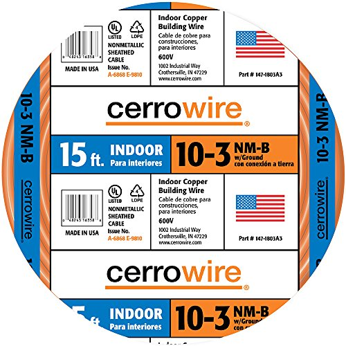 Cerrowire 147-1803A3 15-Feet 10/3 NM-B Solid with Ground Wire, Orange (10 3 Wire With Ground)