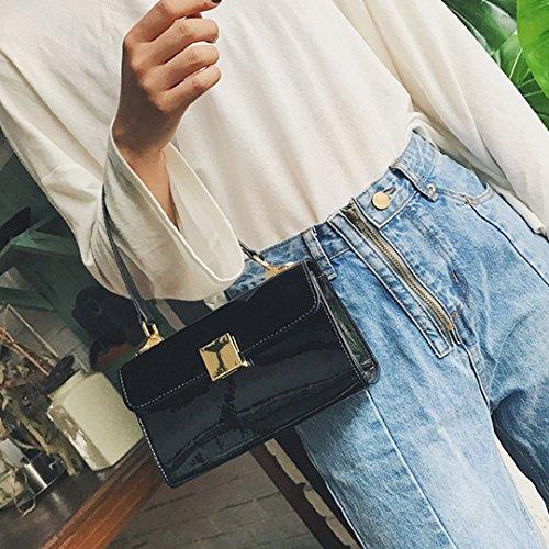 Ladies Patent Fashion Leather Designer AiSi Shoulder Tote Clutch Women's Black Bag Handbag 5YqqgEx