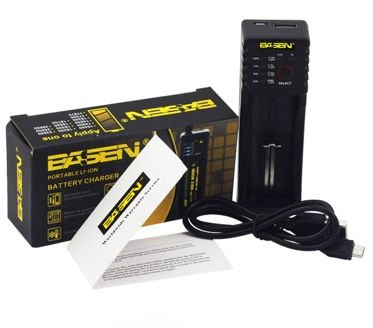 BS1 external lithium ion USB battery charger chargers 18650 12v aaa travel rechargeable 3.7v 3.7 li-ion aa universal batteries single smoking 26650 detector current voltage 3.6v core rcr123a boNuS