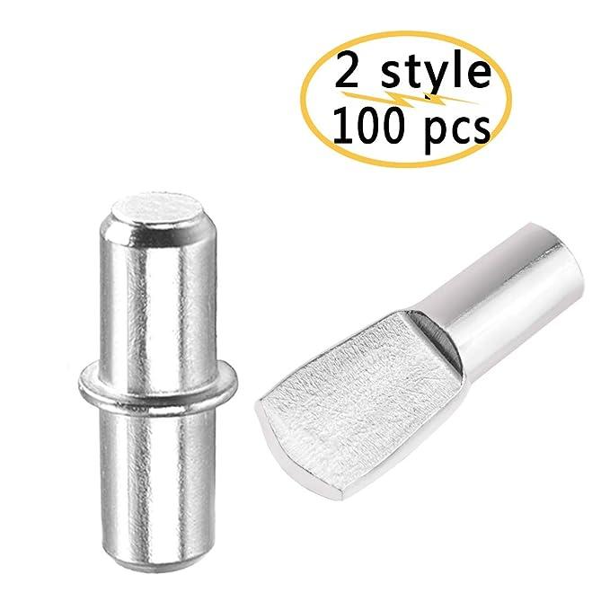 100 unids niquelado Pasadores de estante de 5 mm color plateado repisas de soporte de estante para Muebles de gabinetes Estilo de cuchara plana