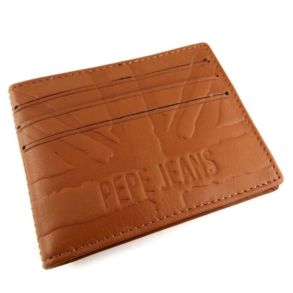 Leather card holder Pepe Jeans cognac.