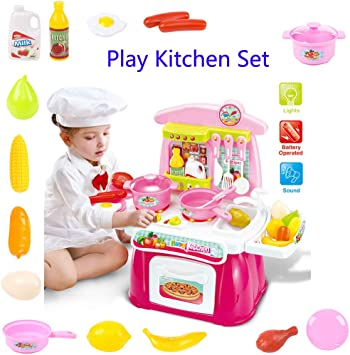 Natasa Pretend Play Kitchen Set Kids Cookware Playset with Lights and  Sounds Cooking Set (Pink)