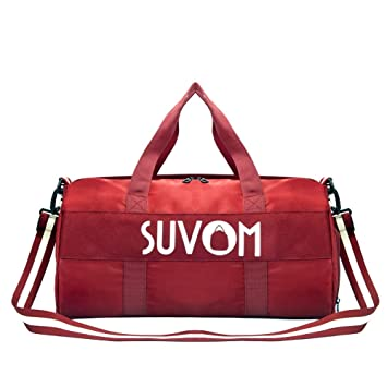 28b073126c27 SUVOM Gym Bag for Women, Workout Duffel Bag with Wet Pocket and Shoe  Compartment, Travel Duffel Bag, 32L Red Lightweight