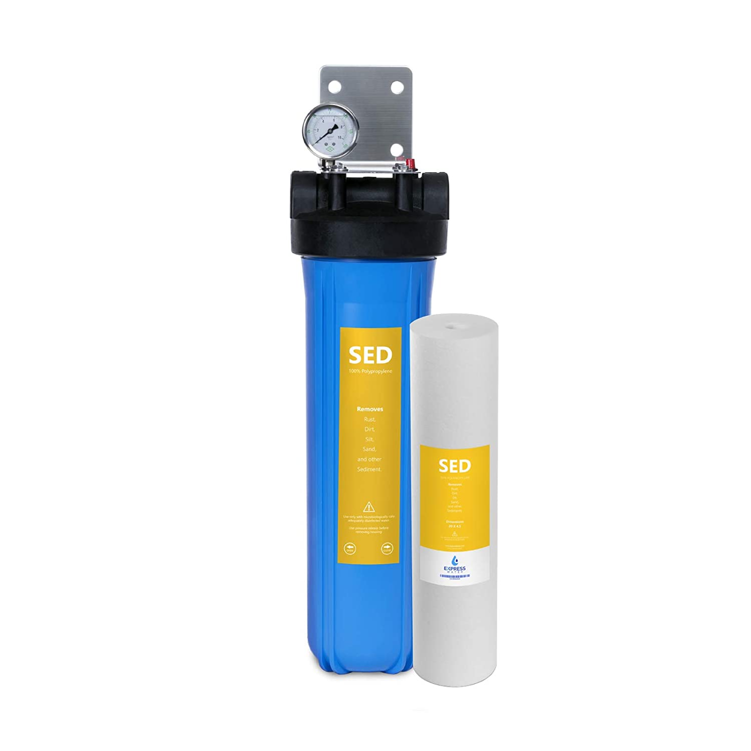 """Express Water Whole House Water Filter – Home Water Filtration System – Sediment Filter – includes Pressure Gauge, Easy Release, and 1"""" Inch Connections"""