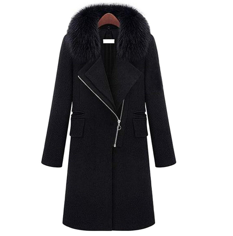 Krralinlin Women's Black Woolen Elegant Zipper Turn-Down Collar Long Maxi Coat