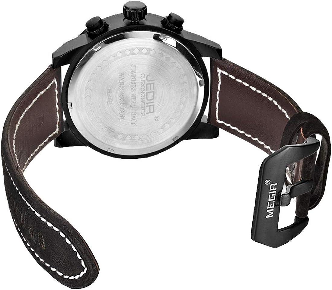 Montres Pointeur irrégulier et de Moment Montre de Taille avec Bracelet en Cuir et Fonction d'affichage du Calendrier pour Les Hommes Wa1305bb