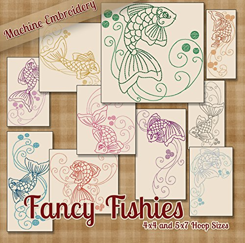Fancy Fishies Redwork Embroidery Machine Designs on CD - Multiformat Pattern CD