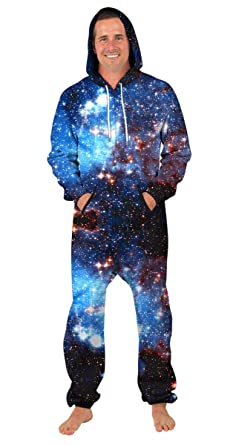 2b92d1753c97 GLUDEAR Unisex 3D Galaxy Print One Piece Jumpsuit Zip Long Sleeve Pants  Rompers Overalls with Hooded