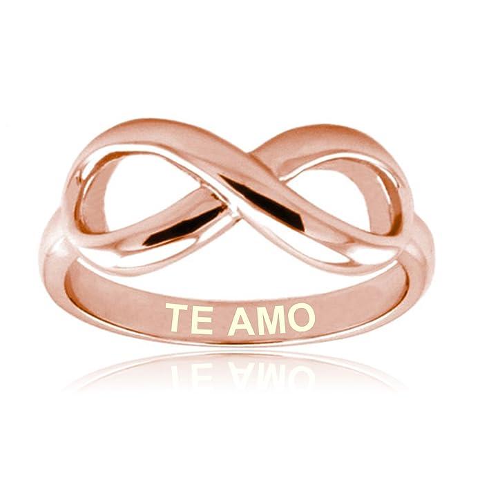 Te Amo de Rosa de Oro Plata Esterlina Anillo Infinito Grabado: Amazon.es: Joyería
