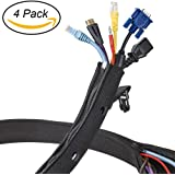 "Cable Management Sleeve - Expandable Computer Cord Organizer System - 19.5"" Flexible Desk Wire Cover with Zipper & Buckle - Perfect Protector for Audio, Visual, Networking Electronics - 4 Pack"