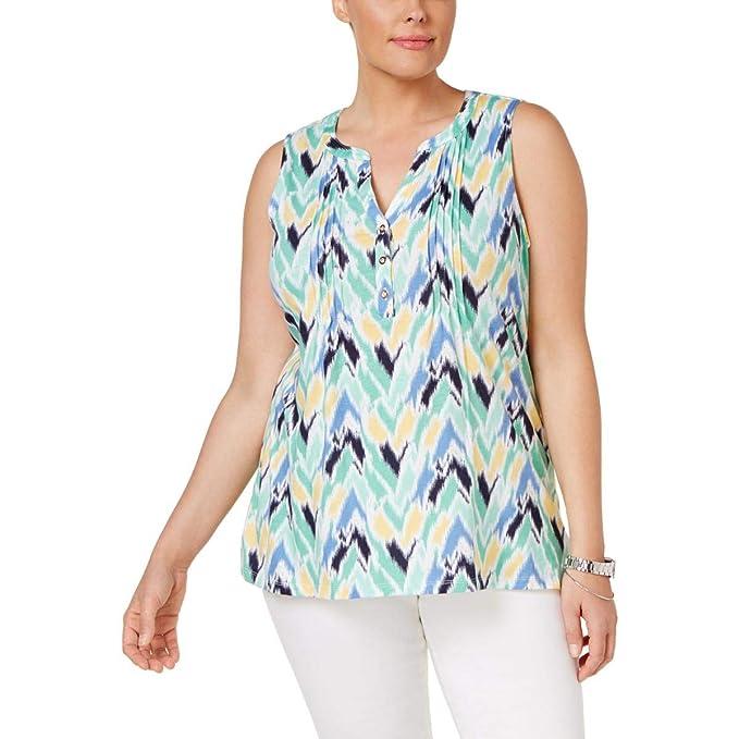 bdf9731ee19 Charter Club Womens Plus V-Neck Ikat-Print Tank Top Green 1X at Amazon Women s  Clothing store