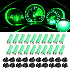 20 x T5 Dash Instrument Led Light Bulbs, 3-SMD Dashboard Instrument Panel Cluster Gauge Indicators Lamp Bulbs 12V w/Twist Socket (Green)