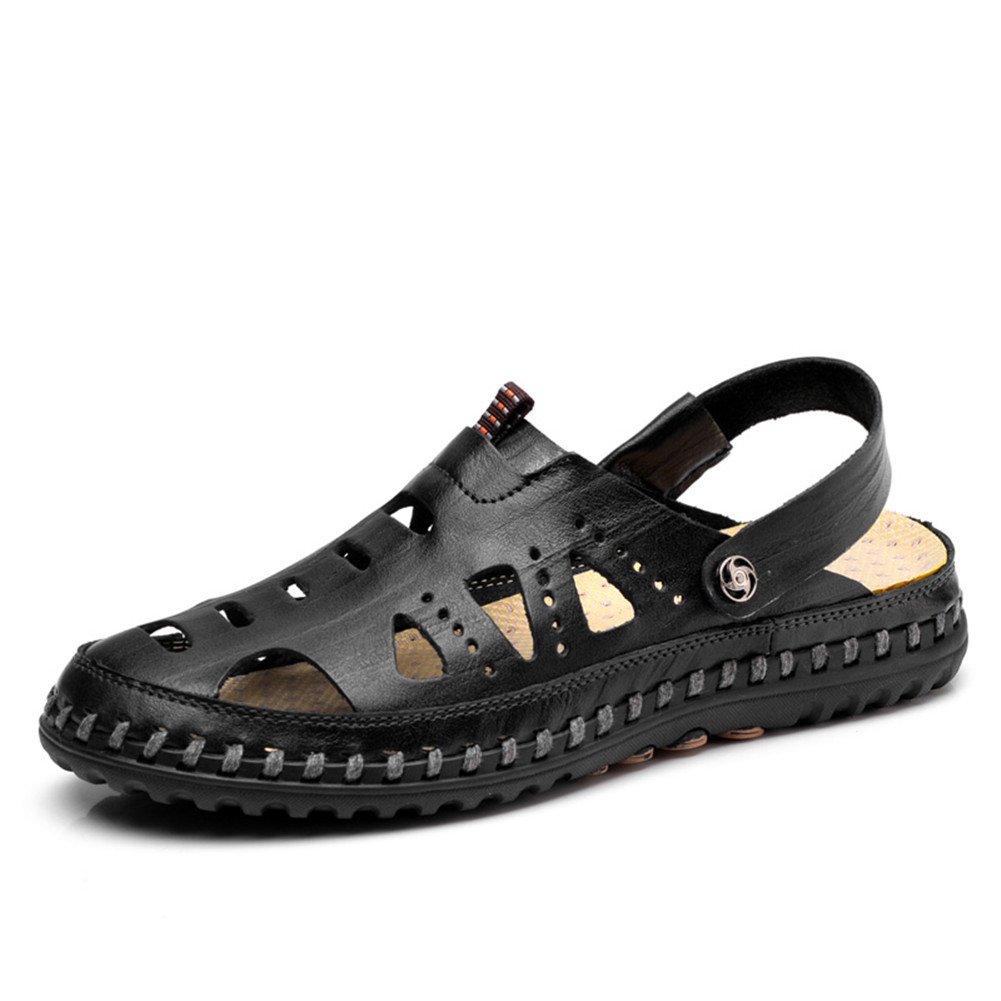 ailishabroy Sandalias de Dedo Para Hombre Cerrado Cómodo Sandalias de Cuero Para Verano Hombre 44|Negro