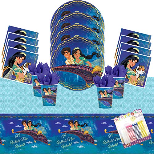Aladdin Party Supplies Pack Serves 16: Dinner Plates Luncheon Napkins Cups and Table Cover with Birthday Candles]()