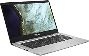 "Asus C423NA Chromebook 14"" HD Laptop (Intel Dual Core Celeron Processor N3350, 4GB DDR4 RAM, 64GB SSD) Webcam, WiFi, Bluetooth, Type-C, Google Chrome OS - Silver (Renewed)"