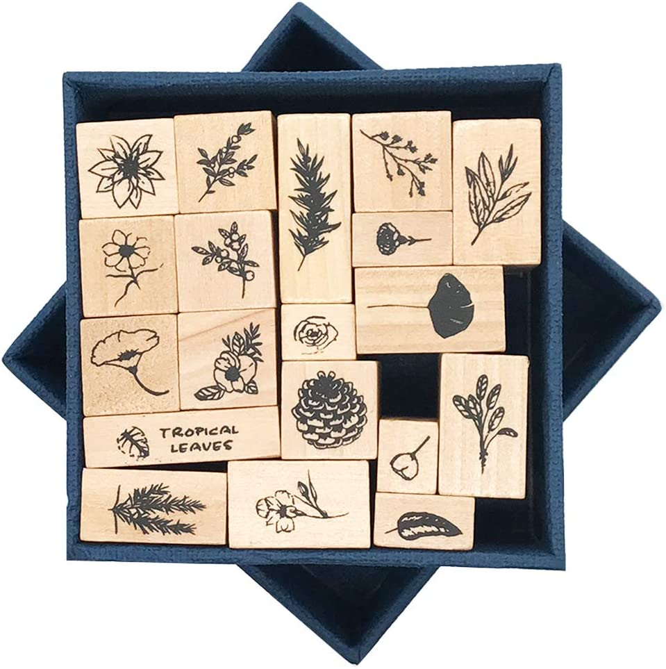 Vintage Wooden Rubber Stamps, EnYan 19pcs Nature Plant Flower Holiday Sprigs Pine Cone Tree Arts Tropical Leaves Decorative Mounted Rubber Stamps for Card Making DIY Crafts Planner Scrapbooking