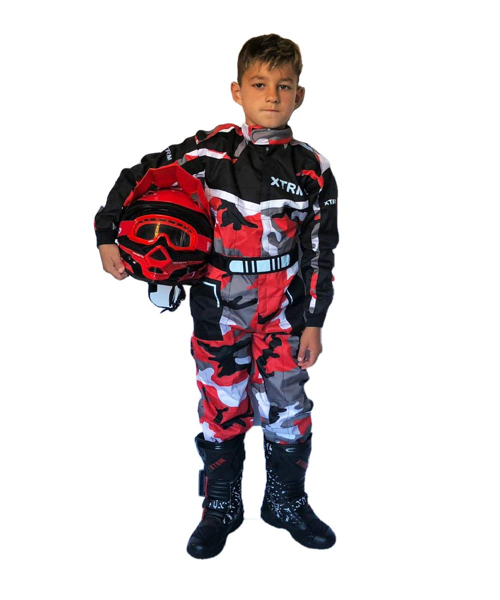Multicolori Camo Rosa, XL TUTA MOTO BAMBINO XTRM Nuovi Tuta da Kart Per Bambini Moto QUAD PITBIKE Dirt Bike ATV Scooter Tuta da Corsa Motocicletta Go-Kart Motocross da bambini MX Suit