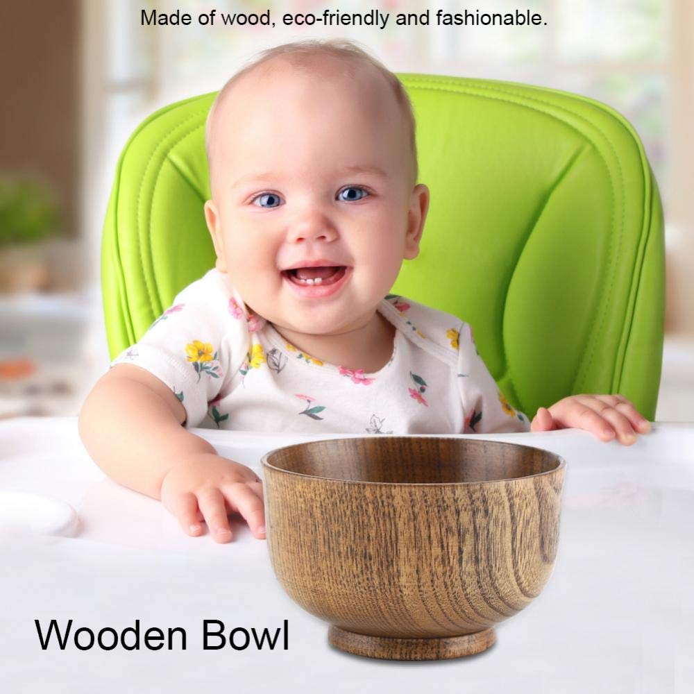 Wooden Bowl, Child Kid Wooden Handmade Bowl Food Container Heat-Resistant Tableware Soup Bowl Fruit Bowl by GLOGLOW (Image #6)