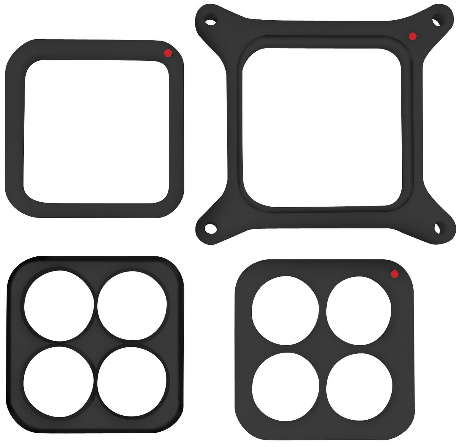 Proform 67160C 1'' Thick Trackside Phenolic Square Bore Carburetor Spacer Kit with Open/4-Hole/Tapered 4 Hole