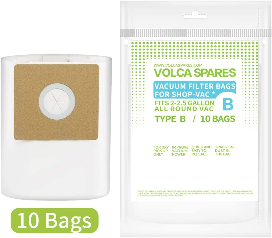 Volca Spares Type B Filter Bags for Shop-Vac 2 & 2.5 Gallon Wet/Dry Vacuums,10 Bags, Part # 9066800