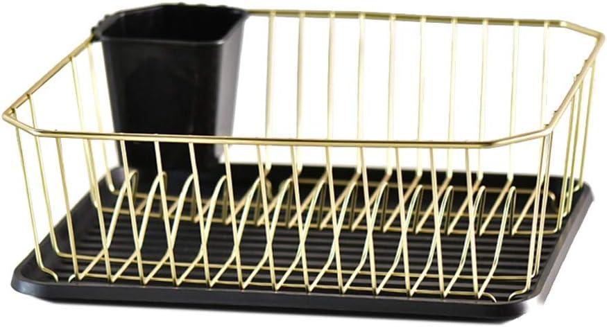 Cuadro de vajillas de Drenaje Estante Estante de Drenaje casero Cocina Plato de Oro Estante for Platos (Color : Gold)