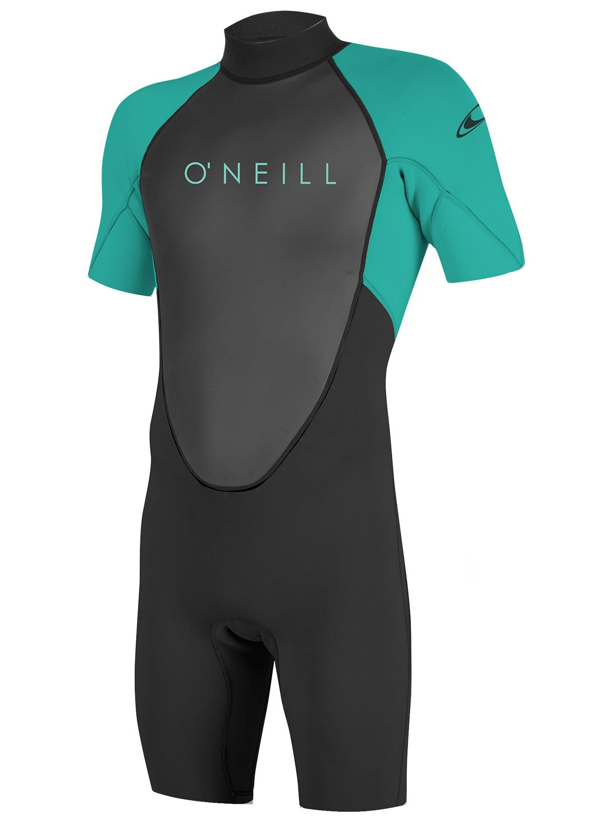 O'Neill Youth Reactor-2 2mm Back Zip Short Sleeve Spring Wetsuit, Black/Aqua, 10 by O'Neill Wetsuits
