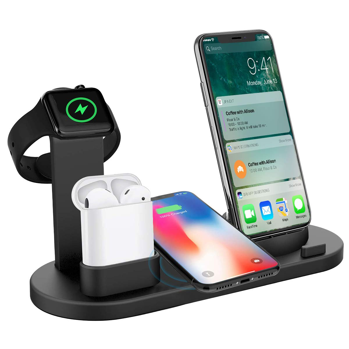 Wireless Charger 4 in 1 Wireless Charging Dock Compatible Apple Watch and Airpods, Qi Fast Wireless Charging Pad Stand Compatible iPhone X/XS/XR/Xs Max/8/8 Plus and All Mobile Phone by aphqua