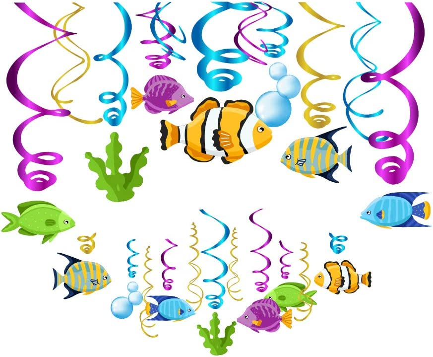 CC HOME Tropical Fish Party Decorations, Fish Hanging Swirl Decoration for Kids Birthday,Baby Shower,Wedding,Bridal Showers Decoration