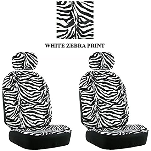White Zebra with Black Stripes Animal Print Safari Wild Series 2PC Car Truck SUV Auto Head Rest Covers with Front Seat Low Back Bucket Seat Covers - (Safari Print Seat Covers)