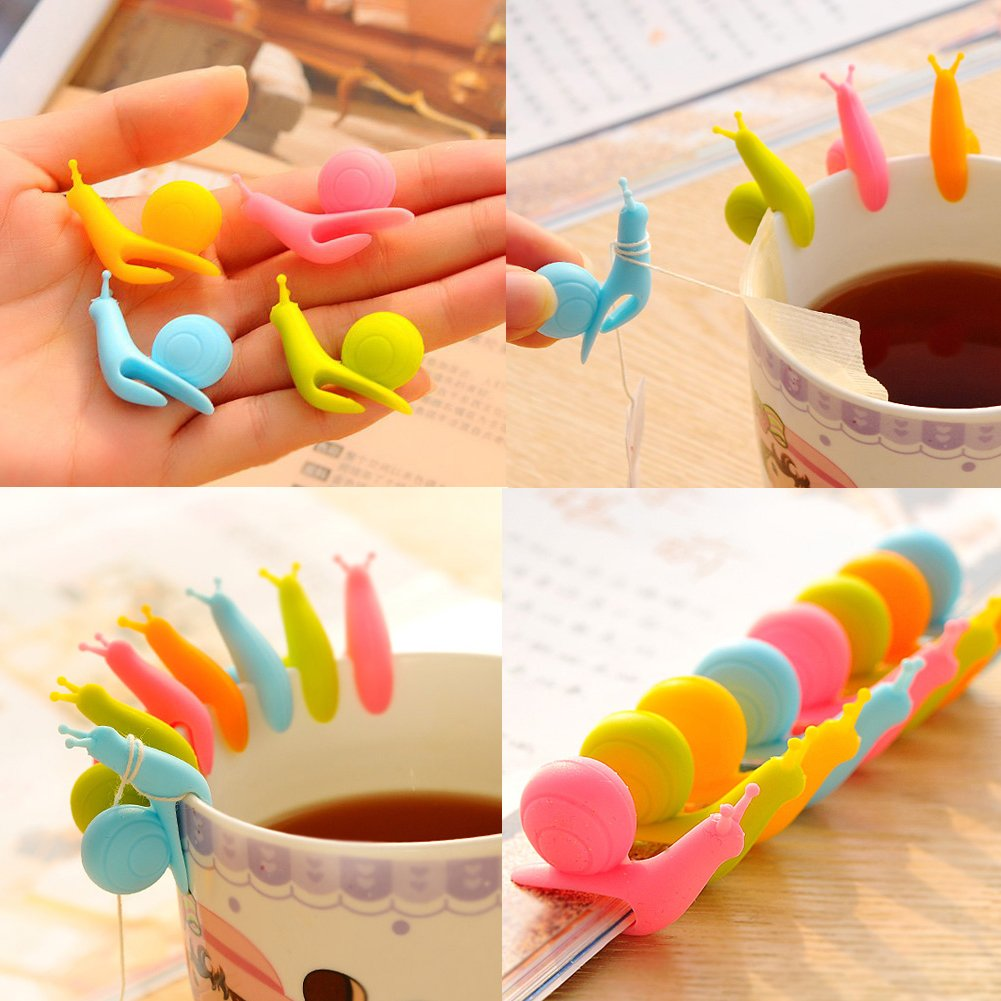 BCHZ 6pcs Silicone Glass Markers Snail Wineglass Label for Hanging Tea Bag Tea Bag Clip by BCHZ (Image #8)