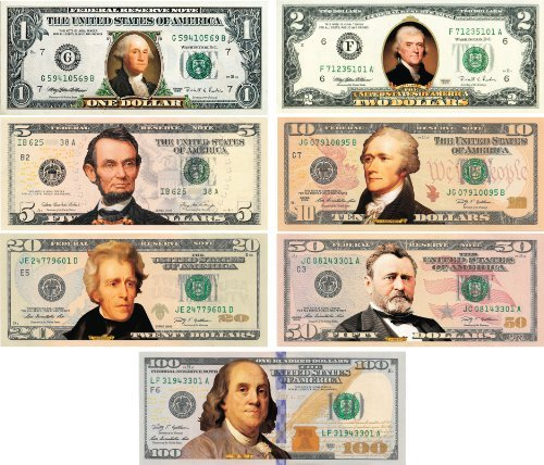 *Set of all 7* COLORIZED 2-SIDED U.S. Bills Currency...