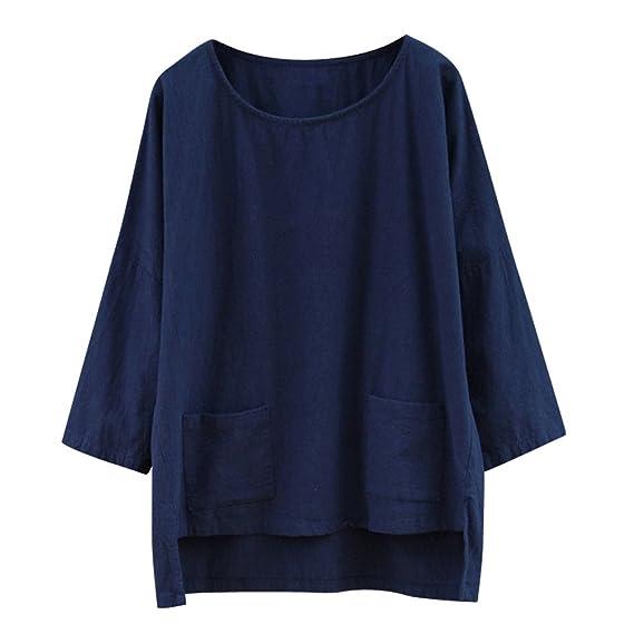 ALIKEEY Las Mujeres De Color Solido De Gran Tamaño Bolsillo Suelto De Ropa De Cama De Algodón Casual Camiseta Top Plus Size Solid Bolsillo Suelto Tops ...