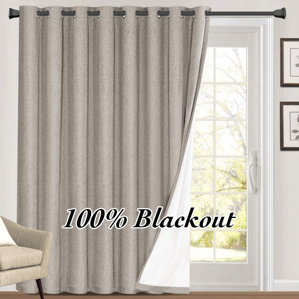 """100% Blackout Linen Look Patio Door Curtain 96 Inches Long Extra Wide Thermal Insulated Grommet Curtain Drapes for Living Room / Sliding Glass Door, Primitive Winow Treatment Decoration, Taupe 100""""W x 96""""L Taupe"""