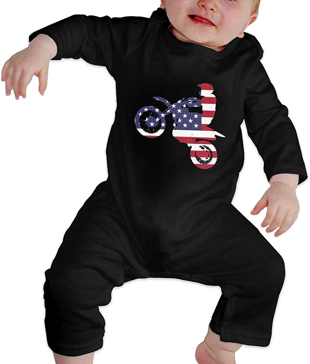 Dirt Bike Organic One-Piece Bodysuits Coverall Outfits Baby Girls Romper Jumpsuit