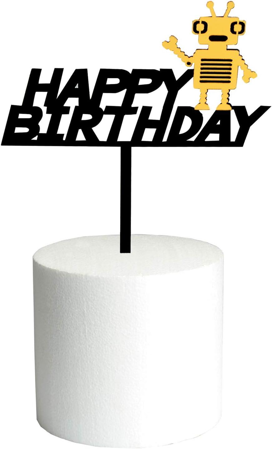 DIY Black Robot Happy birthday Cake Topper Acrylic