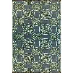 Garden and Outdoor Mad Mats Molly Indoor/Outdoor Floor Mat, 6 by 9-Feet, Black Aqua outdoor rugs