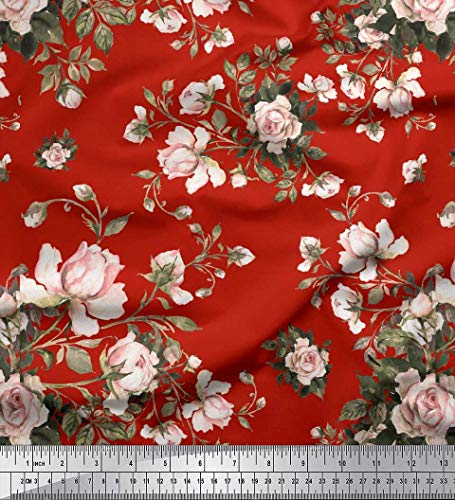 - Soimoi Red Cotton Voile Fabric Leaves & Rose Floral Print Fabric by The Yard 42 Inch Wide
