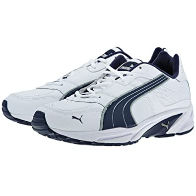 PUMA RADON - Mens Leather Fashion or Sport Trainers White-Blue-Silver