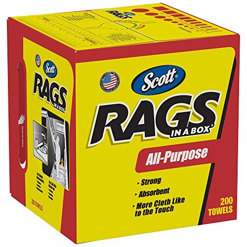 Scott Rags In A Box 75260, White, 200 Shop Towels/Box, 8 Boxes/Case ()