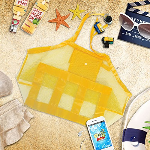 Mesh Pool Toys Reusable Women for AIEX Kids Tote Storage Durable Beach Backpack Men Beach Bag yellow Bag Bag Large gdxwCS