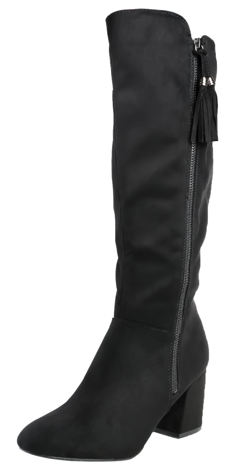 SHENBO Women's Knee High Boots Round Toe Zipper Closure Chunky High Heel Dress Boots (9,Black)