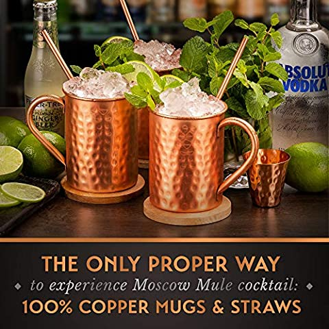 [Gift Set] Moscow Mule Mugs Set Of 4 16 oz. Solid Genuine 100% Pure Copper Cups Cylindrical Shape :HANDCRAFTED in India…