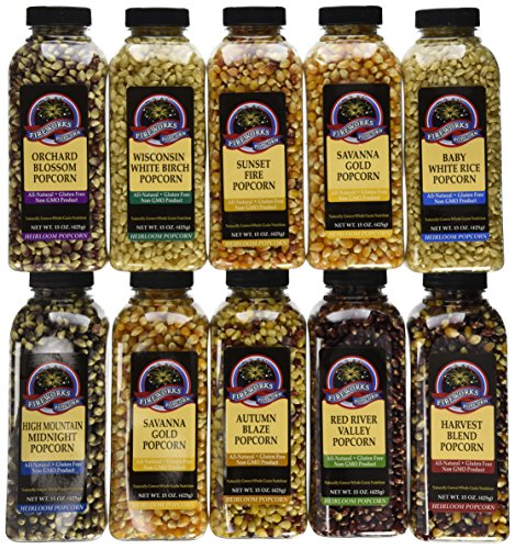 Gourmet Popping Corn - Case of 15 oz. bottles, A Variety Pack of 10 bottles