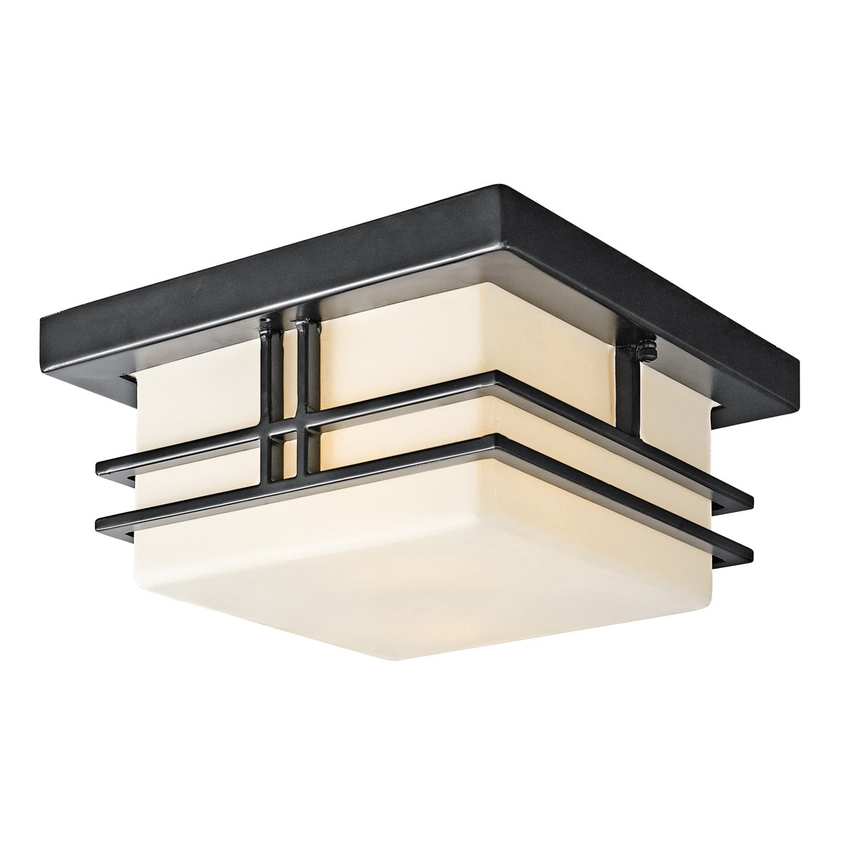 Kichler 49206BK Two Light Outdoor Ceiling Mount   Flush Mount Ceiling Light  Fixtures   Amazon.com