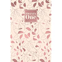 2021: Diary Day to Page A5 Full Day to View Daily Planner | Lined Writing Journal | Rose Gold Foil Leaves Vines Pattern…